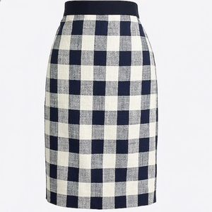 J Crew Navy Buffalo Check Pencil Skirt